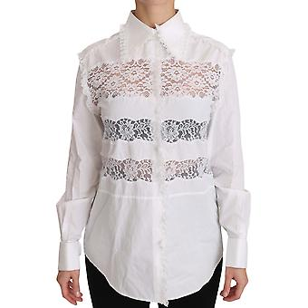 Costume National White Frill Lace Inset Poplin Tops Blouse Shirt -- TSH3351792