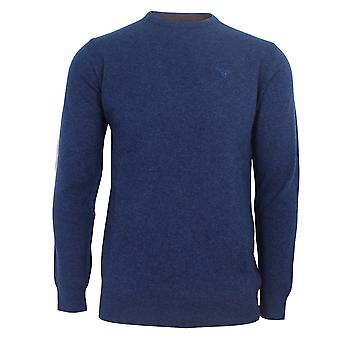 Barbour men's deep blue essential lambswool crew jumper