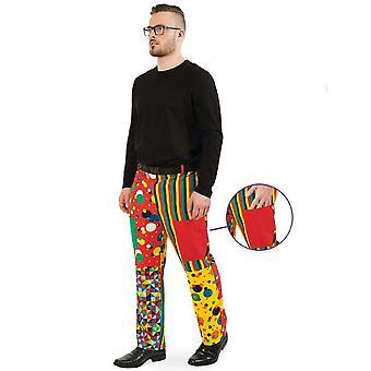 Partyclown Pants Heren Kostuum Clown Kleurrijke Carnaval Carnaval Kostuum Mannen Circus
