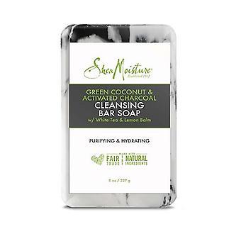 Shea Fukt Grön Kokos & Aktivt kol Cleansing Bar Tvål