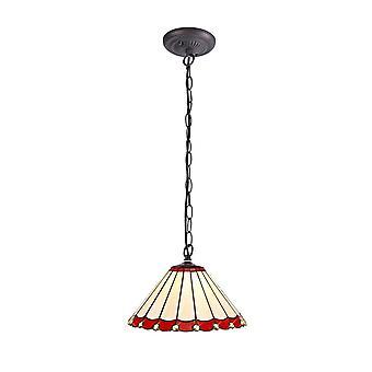 Iluminación luminosa - 1 light Downlighter colgante de techo E27 con 30cm Tiffany Shade, rojo, cristal, envejecido latón antiguo