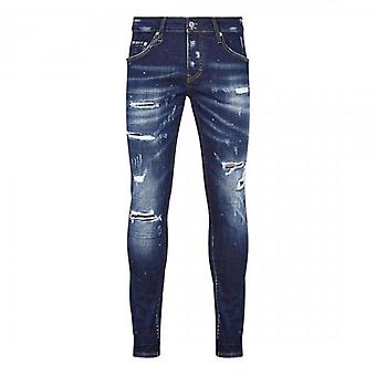 7th Hvn Rip & Repair Blue Tinted Skinny Jeans With Paint Marks S1265