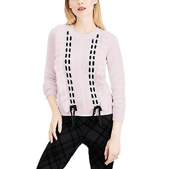 Maison Jules | Ruffle-Trim Lace-up Sweater