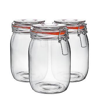 Argon Stolové sklenené úložné poháre s vekom vzduchotesnej spony - 1 litrová sada - Oranžové tesnenie - Balenie 6