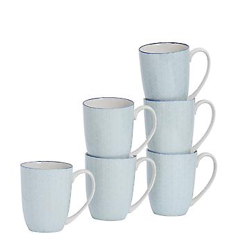 Nicola Spring 6 Piece Geometric Patterned Tea and Coffee Mug Set - Large Porcelain Latte Mugs - Electric Blue - 360ml