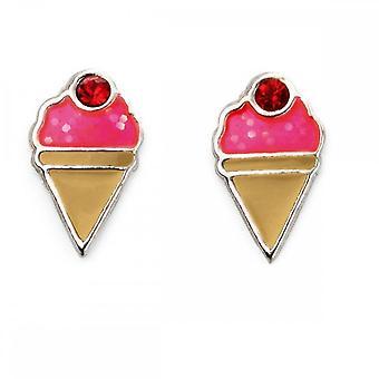 بدايات الجنيه الاسترليني الفضة الوردي المينا الآيس كريم المخاريط أقراط A2015R