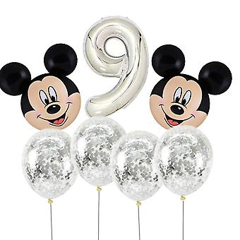Mickey Mouse Head Shaped With Number-foil Balloons For Birthday Party