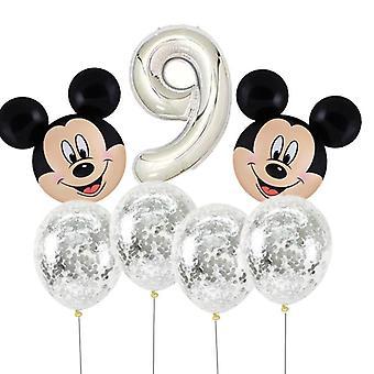 ميكي ماوس رئيس على شكل مع عدد احباط البالونات لحفلة عيد ميلاد