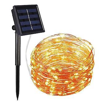 Lumières solaires extérieures de fée de fil de cuivre, lumière de corde de guirlande de Noël