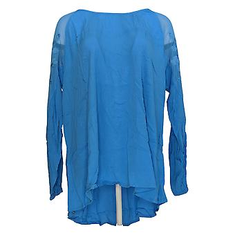 DG2 por Diane Gilman Women's Top Bordad Sheer Shoulder Blue 654-871