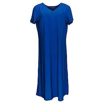 Antthony Dress Jersey Knit Double V-Neck A-Line Midi Blue 695-066