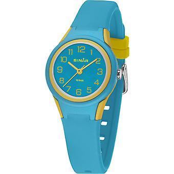 SINAR Youth Watch Kids Wristwatch Analog Quartz Silicone Band XB-47-2 Turquoise Yellow