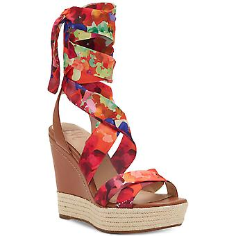 INC International Concepts Womens Cabiate Fabric Open Toe Ankle Wrap Wedge Pu...