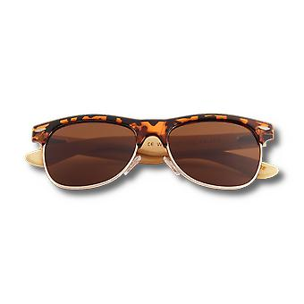 Real Bamboo Tortoise Frame Browline Style Retroshade Lunettes de soleil