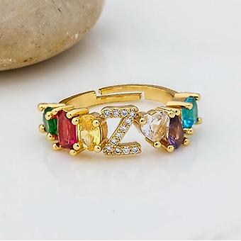 Adjustable A-z Initial Ring Bohemian Copper Zircon  Rainbow Letter Rings Party