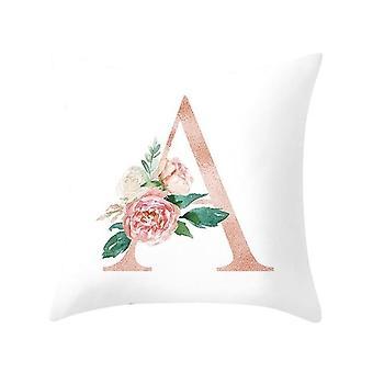 כרית הדפס אלפבית דקורטיבי - ספה, קישוט הבית כרית פרח כרית