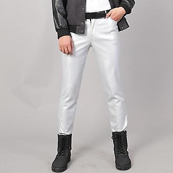 Spring/autumn Slim Fit Elastic Style Pu Leather Trousers Punk Cosplay Dance
