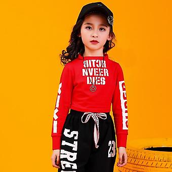 Kid Hip Hop Sweatshirt Top Crop Shirts Running Casual Pants Jazz Dance Clothes