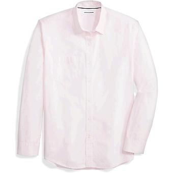 Essentials Herre's Regular-Fit Langermet Solid Casual Poplin Skjorte, Rosa, XX-Large
