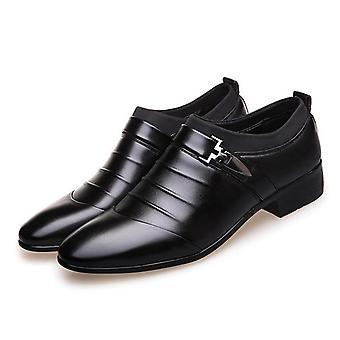 Erkek's Slip-on Bölünmüş Deri Sivri Ayak Elbise Ayakkabıları
