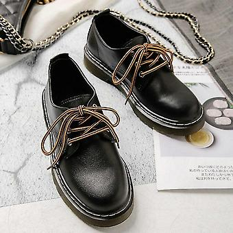 Sneakers Lace Up Leather Low Heel Shoes & Non-slip Ladies Oxford Casual Shoes