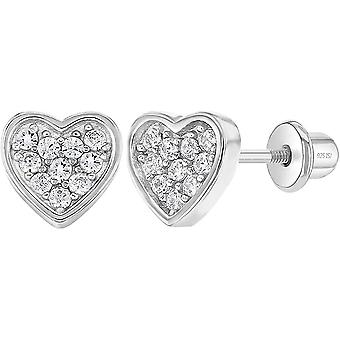 925 Sterling Silver Pave Heart Cubic Zirconia Girl's Earrings