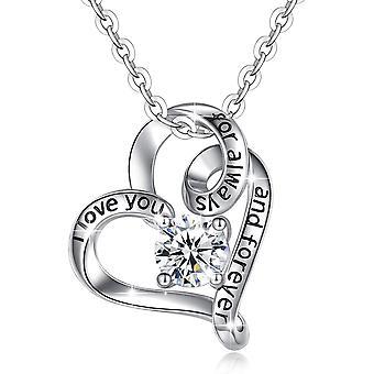 Women Silver Heart Necklace, AEONSLOVE 925 Sterling Silver Pendant Necklace