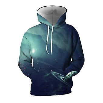 Mens 3d Colorful Galaxy Printed Navy Blue Hoodies With Pockets