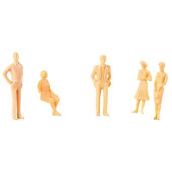 5pcs Model Trains Architectural Unpainted Figures Standing Person Model