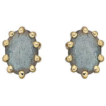 Elements Silver Labradorite Earrings - Blue/Gold