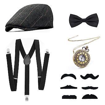 1920 Gatsby kostuum voor mannen fancy dress accessoires set - panama hoed, elastische y-back bretel, boog