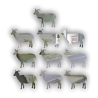 Farm Yard Goat Mini Craft Sized Acrylic Mirrors (10Pk)