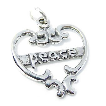 Peace Sterling Silver Charm Pendant .925 X 1 Harmony And Love Charms - 8289