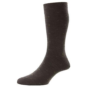 Pantherella Durban Neat Motif Merino Wool Socks - Dark Brown Mix