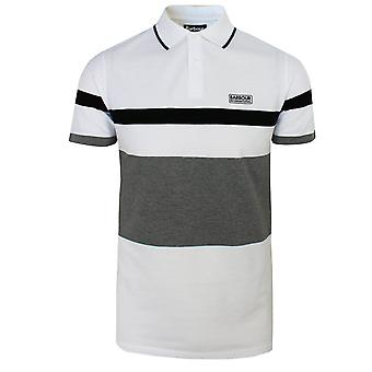 Barbour international men's white clax stripe polo shirt