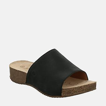 Tonga 51 schwarz - josef seibel black leather slip-on ladies sandal
