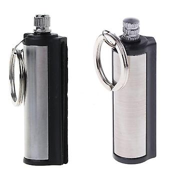 Permanent Striker Lighter Match Silver Color  Metal Key Chain