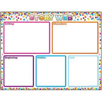 "Smart Poly Confetti Story Web Chart, Dry-Erase Surface, 17"" X 22"""