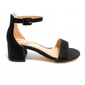 Women's Gold &Gold Sandal Tc 45 Lurex Black Color - Leather Inpiede Ds20gg31