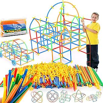 4D كتل القش Diy، خياطة البلاستيك إدراج البناء تجميعها لعبة
