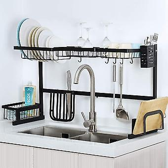 Dish Drainer,Adjustable Length Over The Sink Dish Drying Rack,Nonslip and Polishing Finished