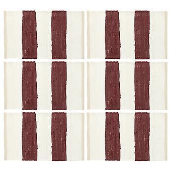 vidaXL placemats 6 pcs. Chindi Striped wine red and white 30 x 45 cm