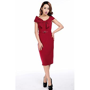 Chic Star Plus Size Bow Collar Pencil Dress In Red