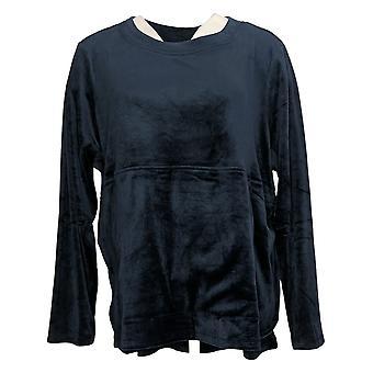 Carole Hochman Women's Sweatshirt Silky Velour Long Sleeve Blue A368281