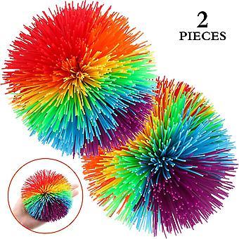 2 Stucke Gro AFFE Stringy Bälle 4,5 Zoll Gro Sensorisch Fidget Stringy Kugeln Weiche Regenbogen Pom