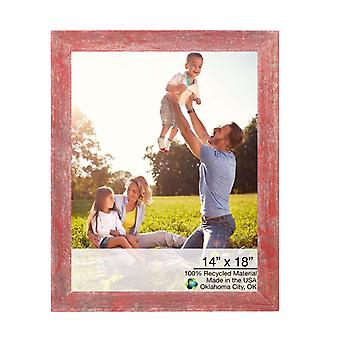"""14"""" x 18"""" Rustic Red Wood Picture Frame"""