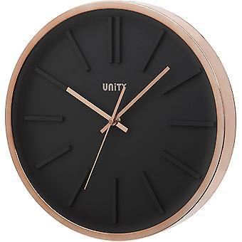 Gerui Missouri Black Dial Wall Clock with Rose Gold Case-35cm/14-Inch, 35cm