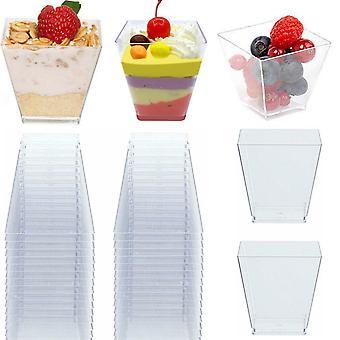 50pcs Clear Plastic Disposable Party Shot Glasses Dessert (uk/us Stock)