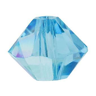 Swarovski Crystal, #5328 Bicone Beads 3mm, 25 Pieces, Aquamarine AB