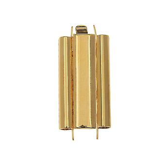 Elegant Elements Beadslides, Seed Bead Slide End Tube Clasp 24x10mm, 1 Set, Gold Plated